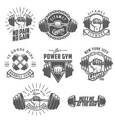 set vintage gym emblems and design elements vector image