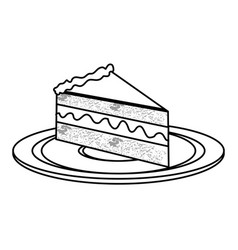 silhouette dish with piece of cake with cream vector image