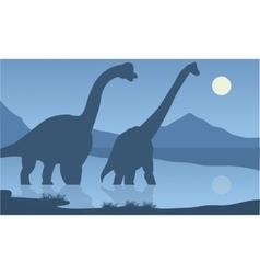 Silhouette of brachiosaurus lake vector