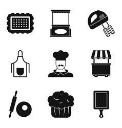 Sponge cake icons set simple style vector