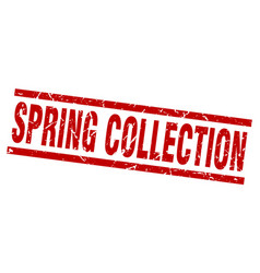 square grunge red spring collection stamp vector image
