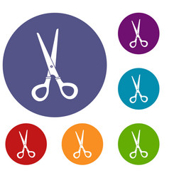 Stationery scissors icons set vector