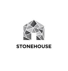 stone house logo design templa vector image
