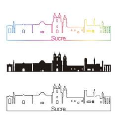 sucre skyline linear style with rainbow vector image