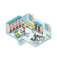 supermarket interior isometric concept characters vector image
