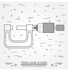 thin line icon micrometer For web design vector image