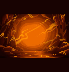treasury cave goldmine cave with gold cartoon vector image
