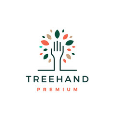 Tree hand leaf logo icon vector