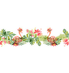 tropical flower and flamingo hand drawn tropic vector image