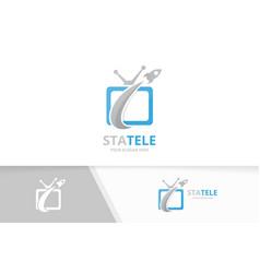 tv and rocket logo combination television vector image