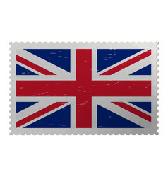 Uk flag on old postage stamp vector