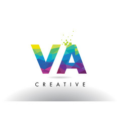 va v a colorful letter origami triangles design vector image