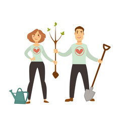 Volunteers in sweater with hearts plant tree vector
