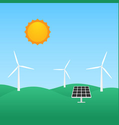 windmill and solar panel renewable energy concept vector image