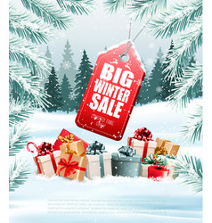 winter sale tag on christmas background vector image
