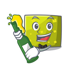 with beer square mascot cartoon style vector image