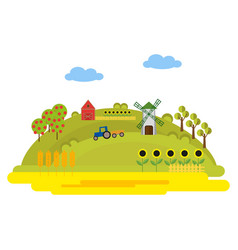 with farm buildings and a tractor on vector image
