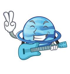 With guitar planet uranus in the cartoon form vector