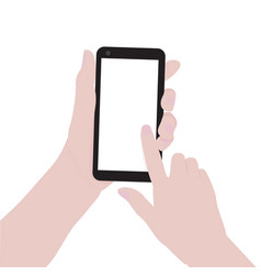 woman hands holding smartphone and pointing on vector image