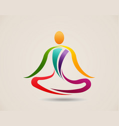 yoga meditation pose logo design vector image
