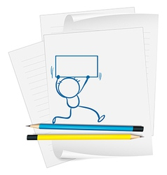 A paper with a drawing of a boy holding a signage vector image vector image