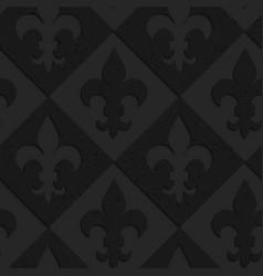 Black textured plastic Fleur-de-lis on diamonds vector image