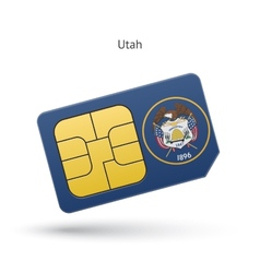 State of Utah phone sim card with flag vector image vector image