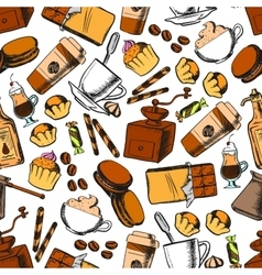 Coffee sweets and pastries seamless pattern vector image vector image
