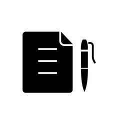 contract - document file with pen icon vector image vector image