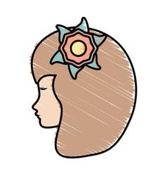 cute profile woman avatar flower vector image vector image