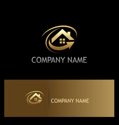 house roof arrow gold logo vector image vector image