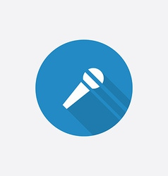 microphone Flat Blue Simple Icon with long shadow vector image