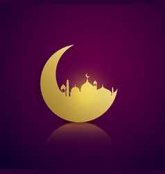 moon and mosque silhouette on purple background vector image vector image