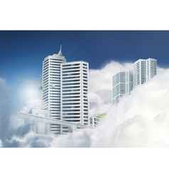 City in the clouds background vector image vector image