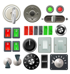 knob switch and dial design elements vector image