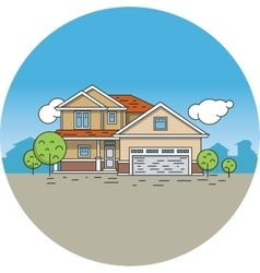 Line drawing of a house vector image