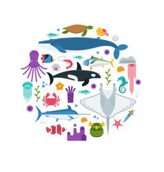 sea life concept card vector image