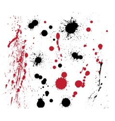 Set of black and red splashes vector image vector image