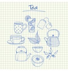 Tea doodles squared paper vector