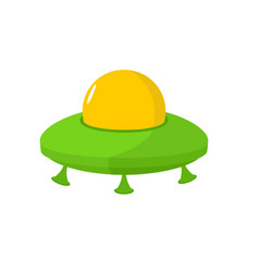Ufo isolated flying saucer on white background vector