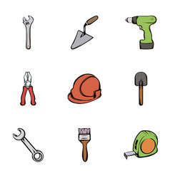 building equipment icons set cartoon style vector image