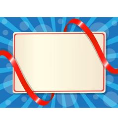greeting card entwined red ribbon vector image