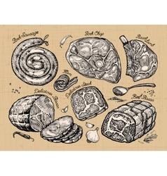 meat set sketch food vector image vector image