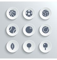 Sport balls icon set - white round buttons vector image vector image