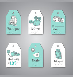 tags for photo studio or photographer hand drawn vector image