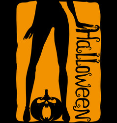 womens legs and halloween pumpkin vector image