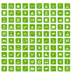 100 team building icons set grunge green vector image