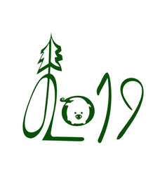 2019 green handwritten lettering with pig vector image