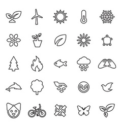 25 outline universal ecology icons vector image