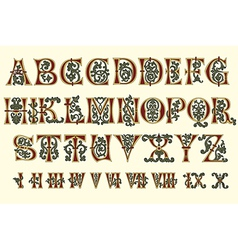 Alphabet Medieval and Roman numerals vector